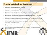 financial inclusion drive background