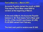 tom s wear inc march 200149