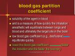 blood gas partition coefficient