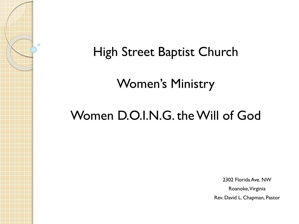 high street baptist church women s ministry women d o i n g the will of god l.