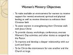 women s ministry objectives