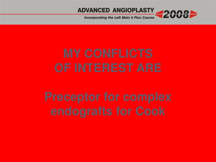 MY CONFLICTS