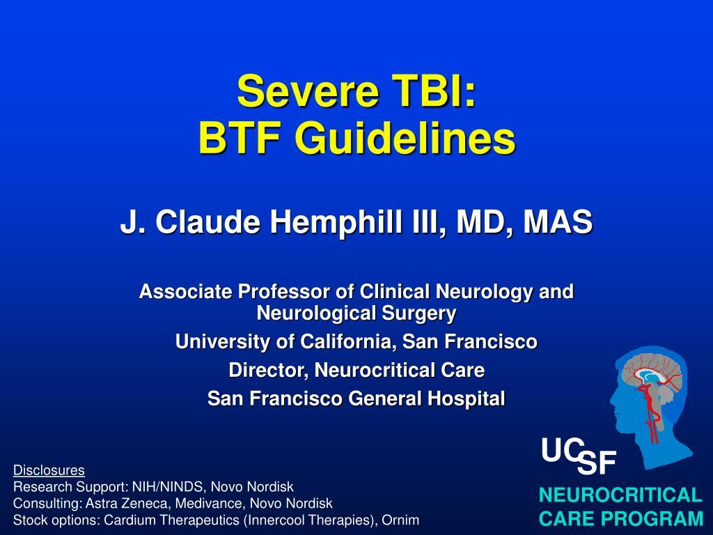 severe tbi btf guidelines l.