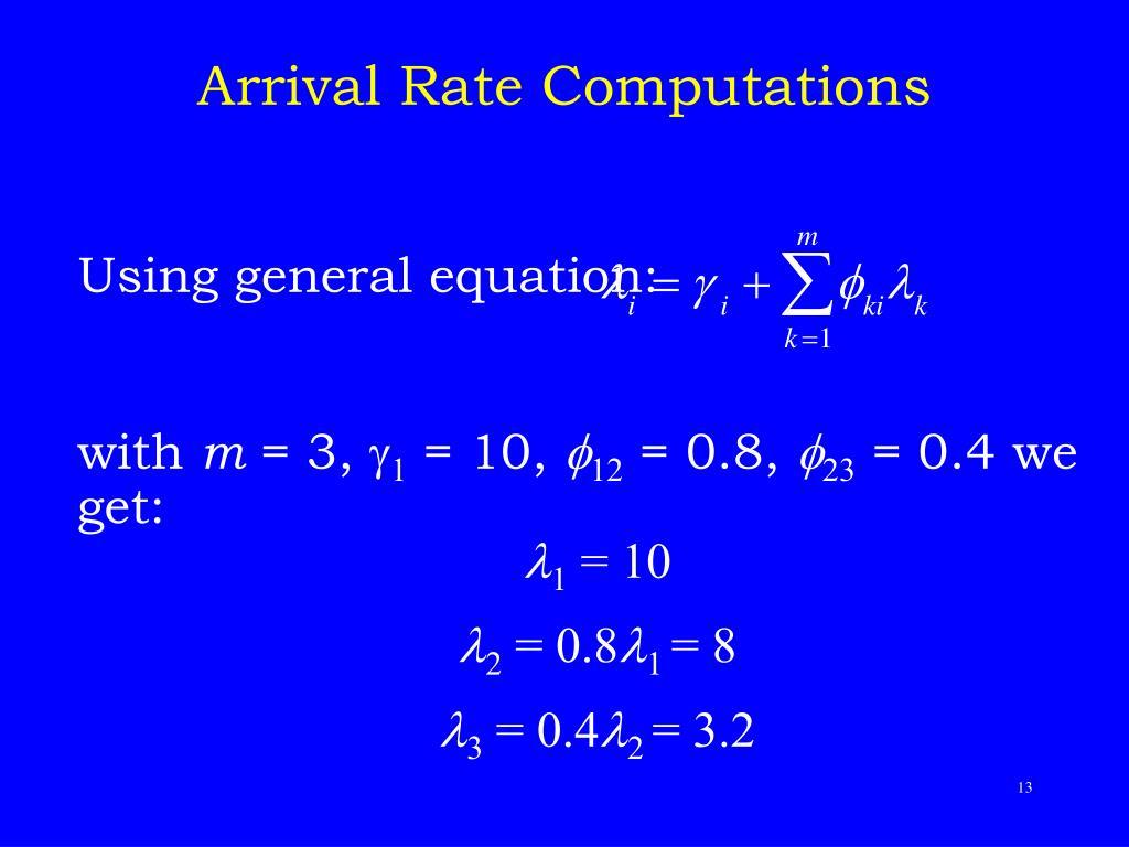 Arrival Rate Computations