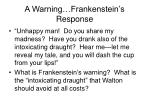 a warning frankenstein s response