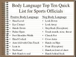 body language top ten quick list for sports officials