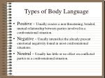 types of body language