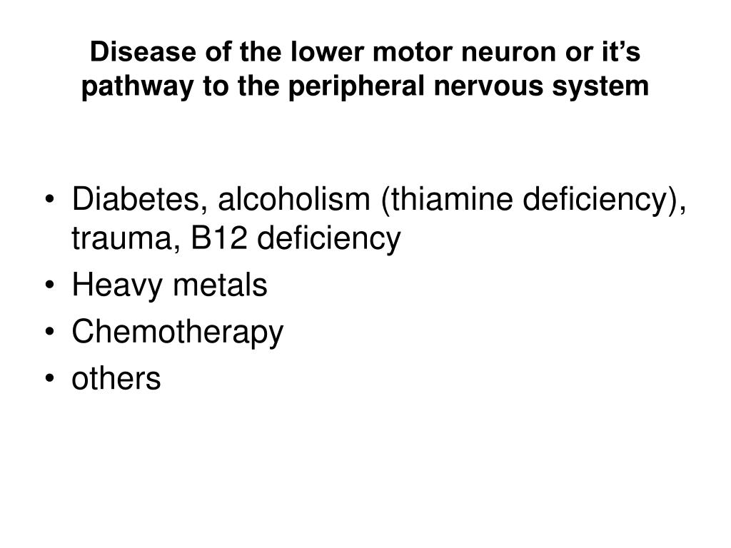 Disease of the lower motor neuron or it's pathway to the peripheral nervous system