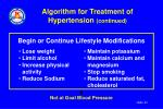 algorithm for treatment of hypertension continued