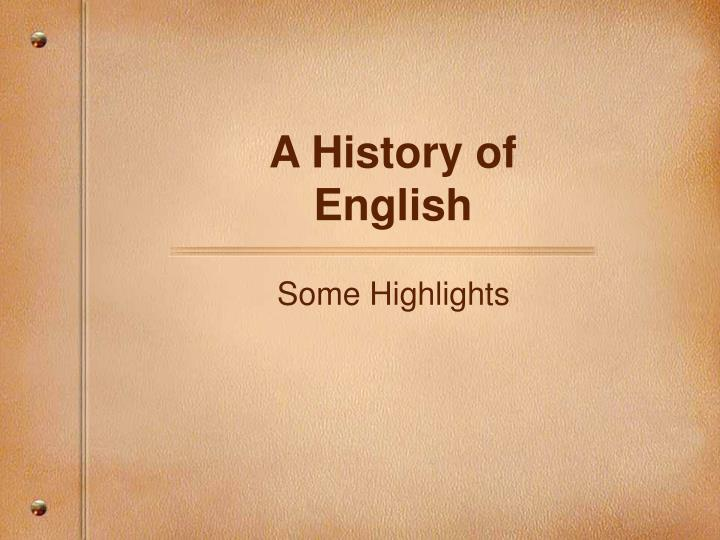 a history of english n.