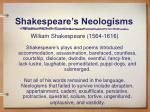 shakespeare s neologisms
