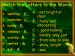 match the letters to the words