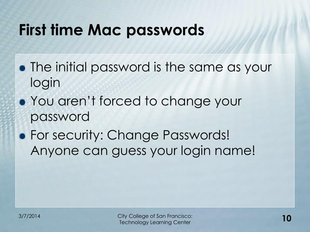 First time Mac passwords