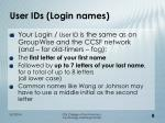 user ids login names