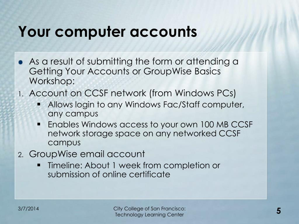Your computer accounts