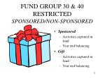 fund group 30 40 restricted sponsored non sponsored
