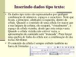 inserindo dados tipo texto
