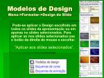 modelos de design menu formatar design do slide