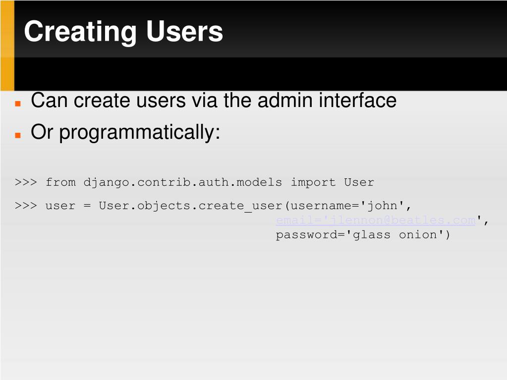 Creating Users