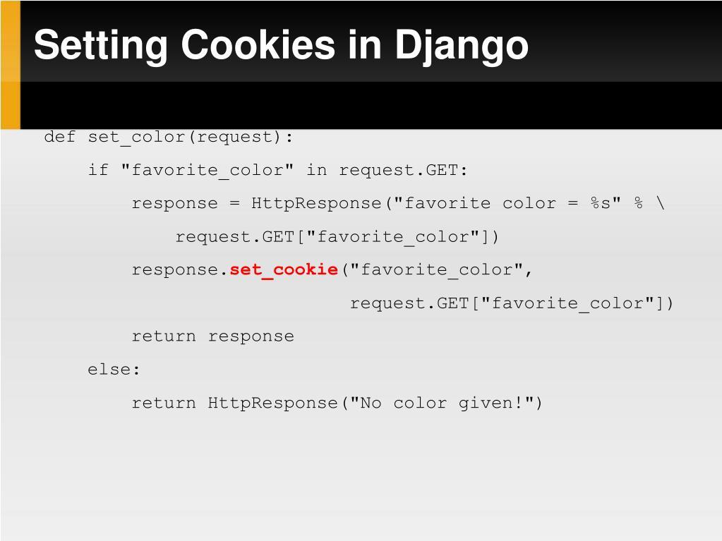 Setting Cookies in Django