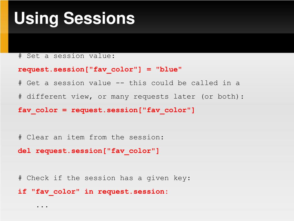 Using Sessions