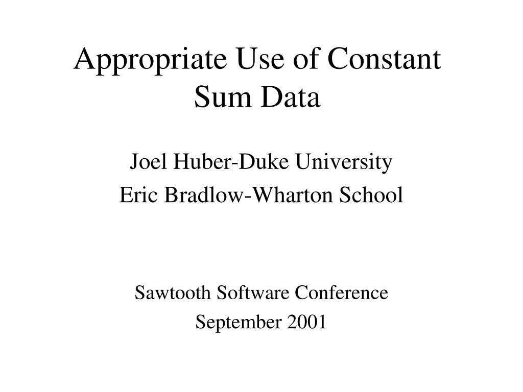 appropriate use of constant sum data l.