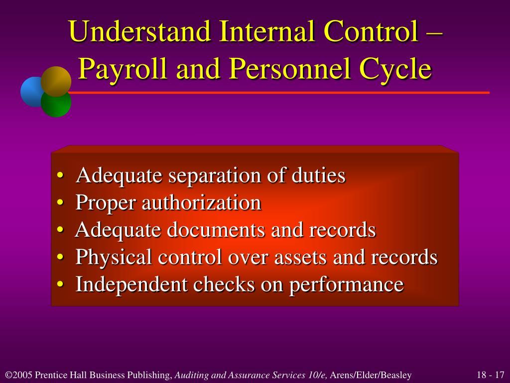 physical control checks and internal control
