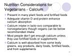 nutrition considerations for vegetarians calcium
