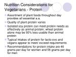 nutrition considerations for vegetarians protein