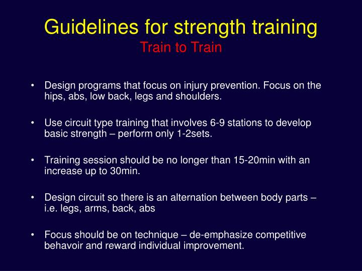 Guidelines for strength training