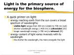 light is the primary source of energy for the biosphere
