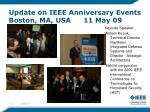 update on ieee anniversary events boston ma usa 11 may 09