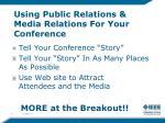 using public relations media relations for your conference