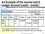 an example of the journal and a ledger account cash contd