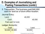 d examples of journalizing and posting transactions contd