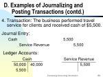 d examples of journalizing and posting transactions contd22