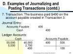 d examples of journalizing and posting transactions contd25