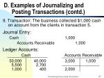 d examples of journalizing and posting transactions contd27