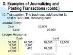 d examples of journalizing and posting transactions contd28