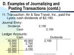 d examples of journalizing and posting transactions contd29