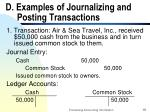 d examples of journalizing and posting transactions