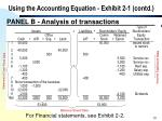 using the accounting equation exhibit 2 1 contd13