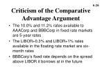 criticism of the comparative advantage argument