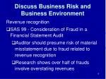 discuss business risk and business environment