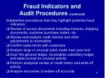 fraud indicators and audit procedures continued