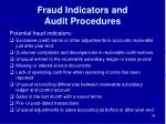 fraud indicators and audit procedures