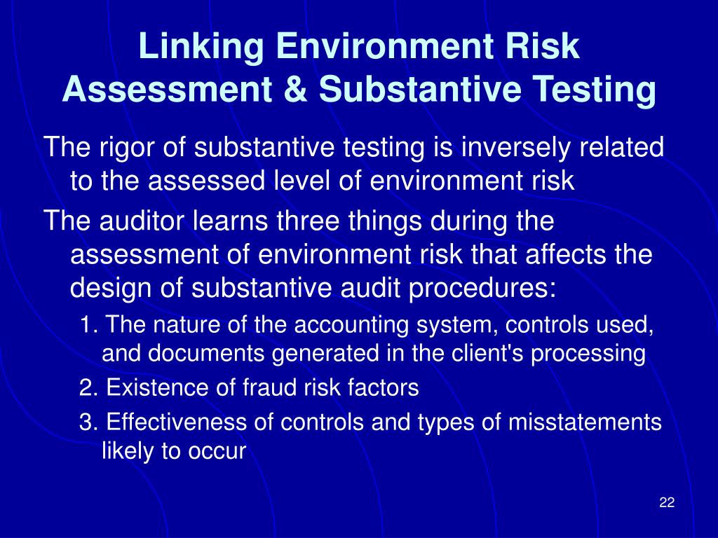 Linking Environment Risk Assessment & Substantive Testing