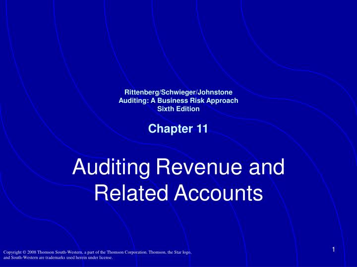 Rittenberg schwieger johnstone auditing a business risk approach sixth edition chapter 11