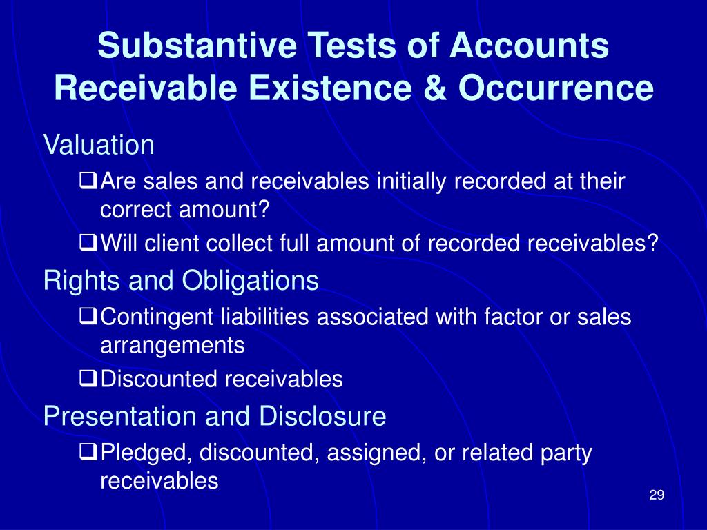 Substantive Tests of Accounts Receivable Existence & Occurrence