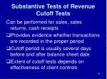 substantive tests of revenue cutoff tests